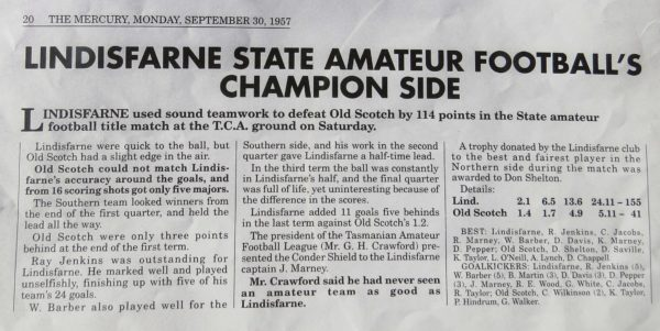 Mercury Newspaper clipping about Lindisfarne 1957 team